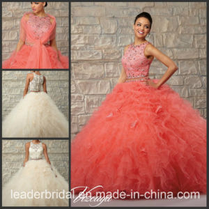 Two Piece Coral Ivory Ruffed Ball Gown Tulle Quinceanera Dress Ld15216 pictures & photos