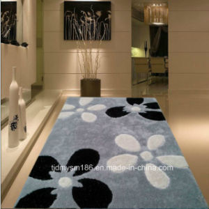 Big Flower Silk Carpet Plain Coloured Flooring Carpet