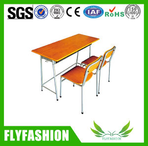 Wood School Furniture Double Desk Sets for Student pictures & photos