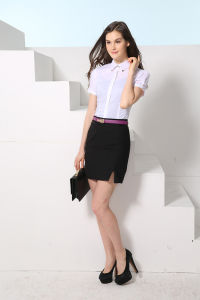 Fashion New Design Women′s Business Short Sleeve Shirt---Md1a8204 pictures & photos