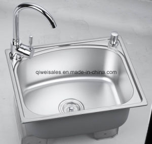 Stainless Steel Handmade Kitchen Sink with Soap Container (QW-A5242) pictures & photos