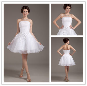 New Style Hot Sale Ball Gown White Lace Strapless Sexy Short Lace Wedding Dresses 2014 with Jacket pictures & photos
