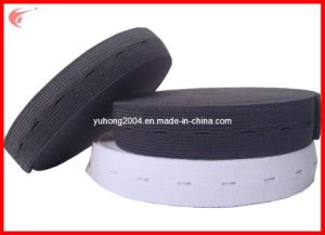 Buttonhole Elastic Tape for Garments (YH1041) pictures & photos
