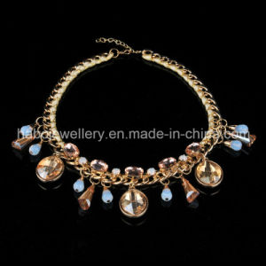Glass Stone with Satin Braided Necklace (XJW13591) pictures & photos