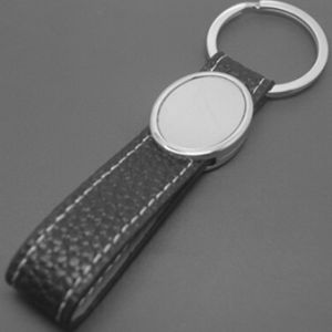 Custom Genuine Leather PU Keyring with Stamped Logo pictures & photos