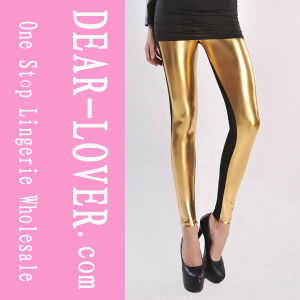 High Waist Metallic Leather Seamed Legging pictures & photos