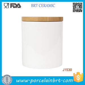 Customized Printing Ceramic Candle Jar/Holder Canister with Bamboo/Ceramic Lid pictures & photos