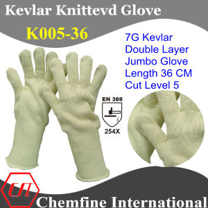 36 Cm Length 7g Kevlar Knitted Double Layer Jumbo Glove/ En388: 254X pictures & photos