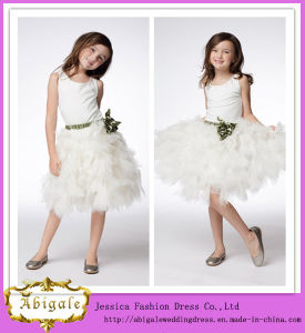 Round Neck Sash With Flower Layered Tulle Skirt Little Girl Dress (FD10010)