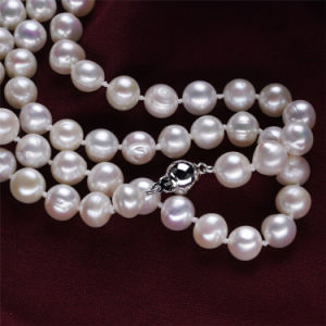 Snh 925 Silver 8mm off Round 47inches Real Freshwater Pearl Set pictures & photos