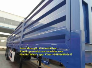 50 Tons Tri-Axle Flatbed Trailer / Side Wall Semi Trailer with Side Panels Detachable pictures & photos