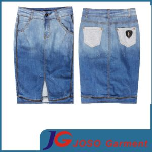 Women Long Blue Jeans Skirt with Zipper on Edge (JC2072) pictures & photos