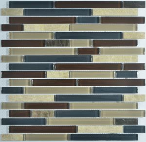 Stripe Glass Mosaic Mix with Stone pictures & photos