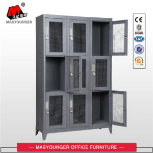 Dark Grey Color 9 Door Mesh Locker with Pad Key pictures & photos