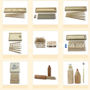 Natural Color Wood Pencil in Wooden Box Packing pictures & photos