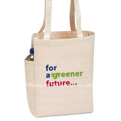 Eco-Friendly Natural Cotton Bag Shopping Tote Bags with Side Pocket pictures & photos