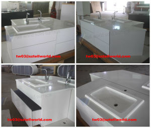 Pure White Marble Sink, Stainless Steel Bathroom Wash Basin pictures & photos