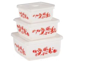 3PCS Plastic Square Food Container for Microwave Oven pictures & photos