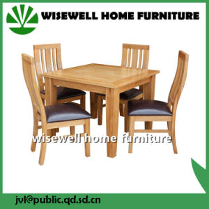 Solid Oak Leather Cafe Furniture with 6 Chair (W-DF-0675) pictures & photos