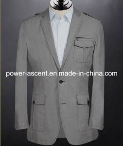 Spring/Autumn Mens Grey Fashion Cotton Suit Jacket pictures & photos