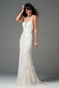 2018 Lace Bridal Gown V-Neck Fishtail Backless Wedding Dress Lb18034 pictures & photos