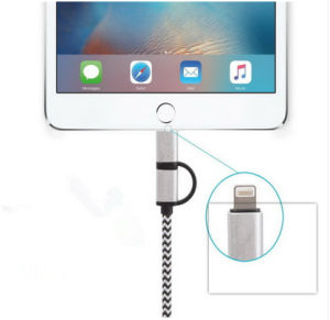 USB 3.0 Nylon Braided 2 in 1 USB Data Cable for Android iPhone pictures & photos