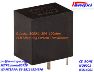 PCB Mounting Current Transformer 0.1calss 2000: 1 20A 100ohm Zemct131A pictures & photos