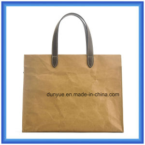 Latest Arrival New Material DuPont Paper Hand Bag, Eco-Friendly Customized Portable Tyvek Paper Shopping Tote Bag with PU Leather Handle pictures & photos