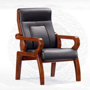 Black Leather Wooden Arms Oak Conference Boardroom Chair (NS-CF011) pictures & photos