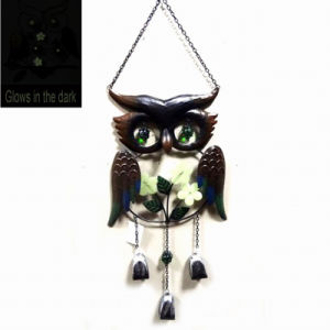 Metal Owl Garden Windbell with Glass Ball Eye Outdoor Decoration pictures & photos