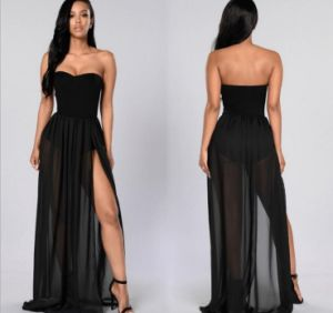 Women Black Maxi Full Length Sleeveless Dress (A120) pictures & photos