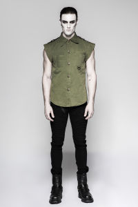 Double Pocket Military Fashion Shirts Short Sleeves Green Men Shirts (Y-762) pictures & photos