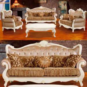 Living Room Leather Sofa with Table for Home Furniture (992B)
