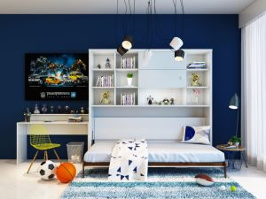 Space-Saving Wall Bed with Book Shelf pictures & photos