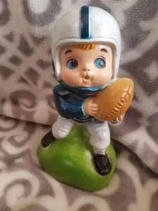 Plastic Money Bank Football Player Molded Blue White Retro pictures & photos