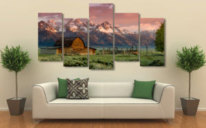 HD Printed Barn Teton Rocky Mountains Painting on Canvas Room Decoration Print Poster Picture Mc-040 pictures & photos
