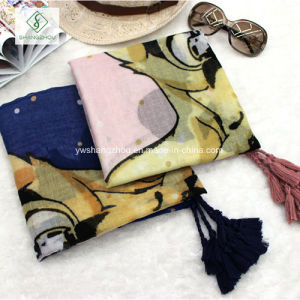 New Long Cotton Shawl Lady Fashion Scarf Printed with Tassel pictures & photos