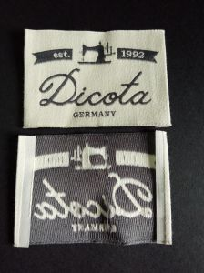 Endfolding Damask Garment Woven Label pictures & photos