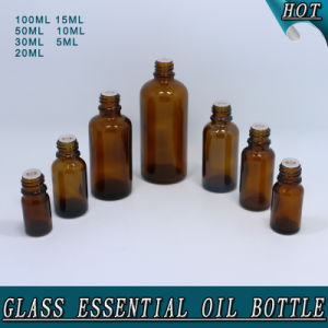 Amber Glass Essential Oil Bottle with White Child Proof Plastic Cap pictures & photos