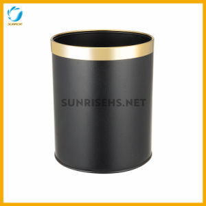 Eco-Friendly Black Leather Covered Room Bin with Gold Ring pictures & photos