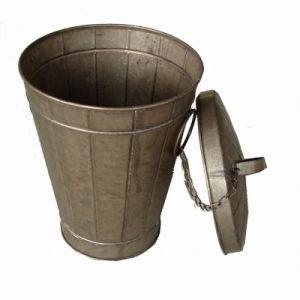 Antique White Round Tin Bucket with Lid Flower Garden Pot pictures & photos