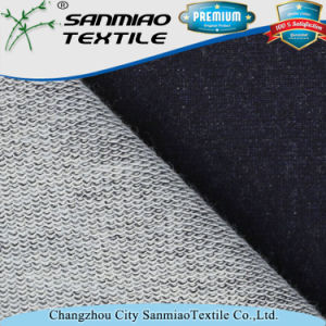 Hot Sale Plain Indigo French Terry Knitted Denim Fabric for Fashion Cloth pictures & photos