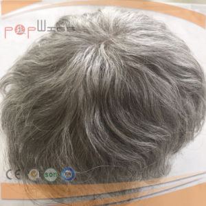 100% Human Grey Hair Top Grade Full Handtied Poly Edge Lace Front Mens Toupee (PPG-l-908) pictures & photos