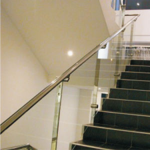 Stand Mounted Cheap Laminated Glass Balustrade with Wood Handrail pictures & photos