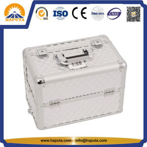 Silver Easy Slide & Extendable Tray Diamond Pattern Makeup Case (HB-6308) pictures & photos