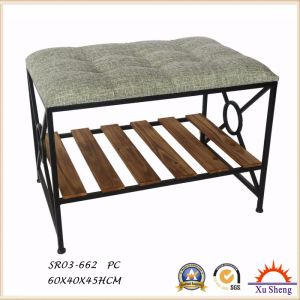 Living Room Furniture Metal and Wood Shoe Rack Storage Bench, Shelf pictures & photos
