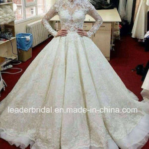 Luxury Ball Gowns Lace Long Sleeves Wedding Dress Yao90 pictures & photos
