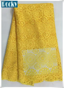 Eco-Friendly Yellow Lace Fabric African Fabric for Women Dress pictures & photos