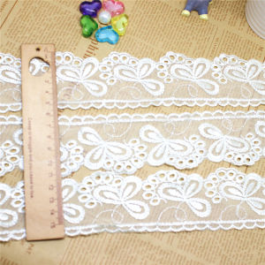 Stock Garment Chemical Fabric Factory Stock Wholesale 5.5cm Width Embroidery Fabric Net White Lace Polyester Embroidery Trimming Fancy Mesh Lace (BS1221) pictures & photos