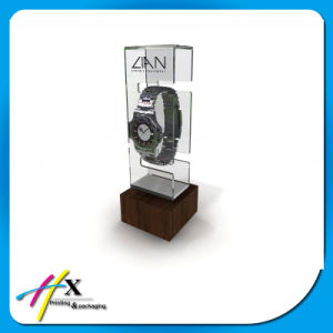 Hard-Glass Single Acrylic Watch Stand Case Display with Wooden Block pictures & photos